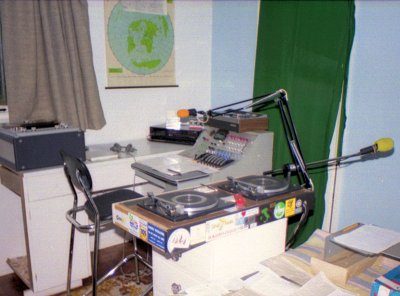 The Radiofax studio in 1988 with a vintage restored BBC mixer
